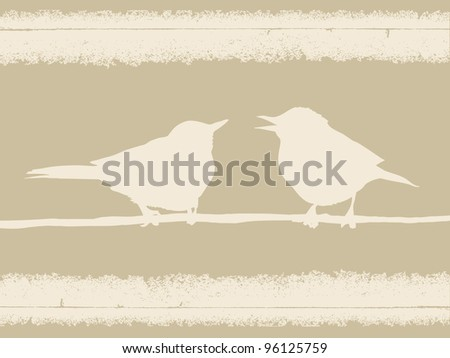 two birds on grunge background