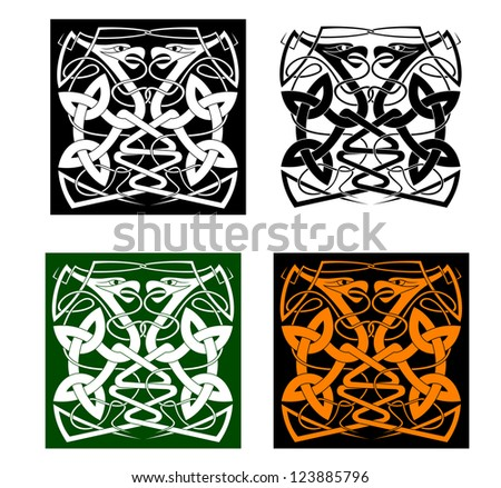 Two birds with vintage knots in celtic style. Vector version also available in gallery