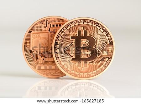 two bitcoins - bit coin BTC the new virtual money - stock photo