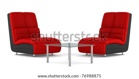 two black and red modern leather armchairs with table isolated on white background