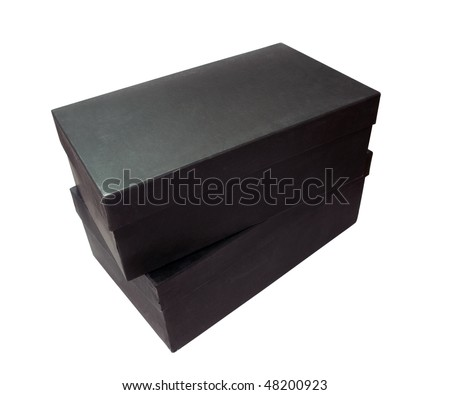 Two black cardboard boxes isolated on white