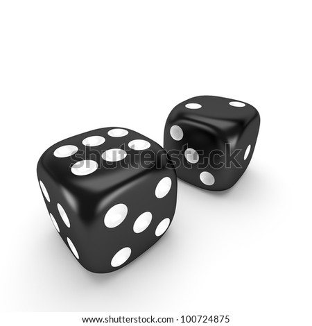 Two black dice on white background