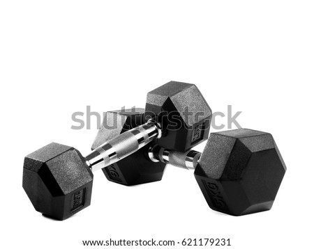 Two black metal dumbbells on isolated background