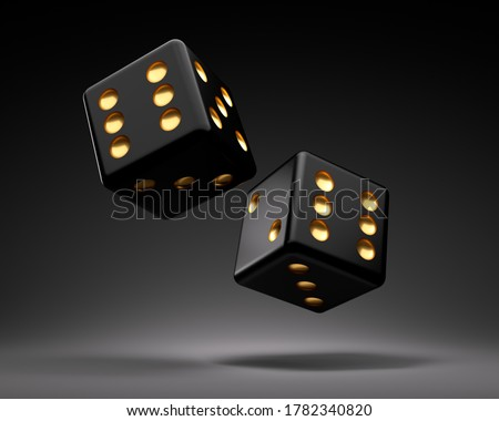 Two black rolling gambling dice on dark background - 3D illustration Photo stock ©