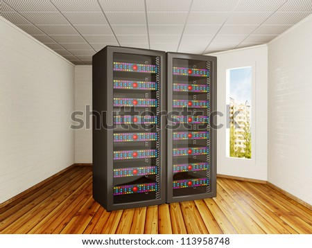 two black server towers in a room