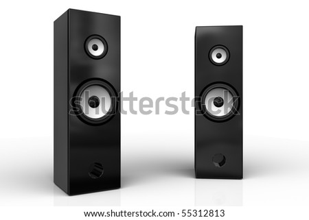 Two black speaker boxes on white background
