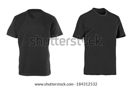 two black t-shirts isolated on white - Shutterstock ID 184312532