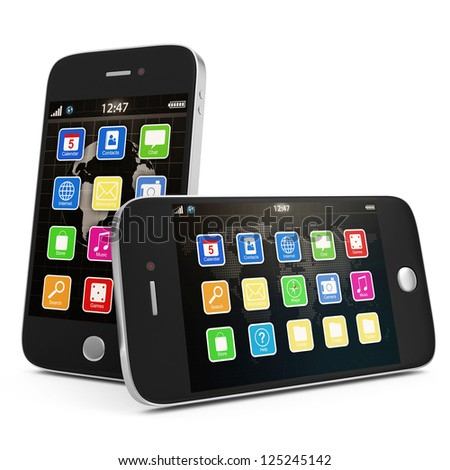 Two Black Touchscreen Smartphone isolated on white background