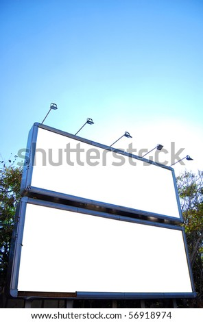 Two blank billboards with space to place your own advertising