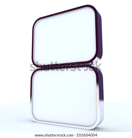 two blank box display new design aluminum frame template for design work,isolate on white background.