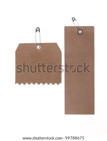 two blank cardboard paper labels  isolated on the white background - stock photo