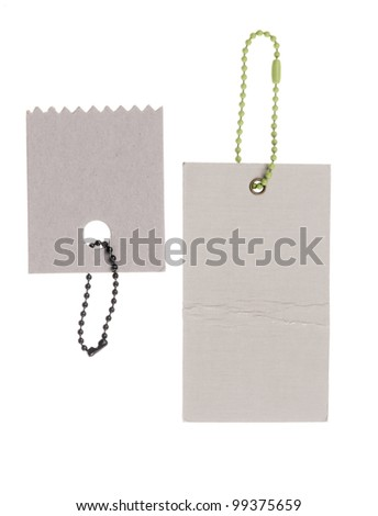 two blank cardboard paper labels with strings isolated on the white background