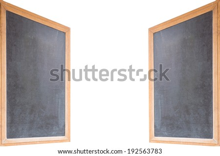 two blank chalkboards over a white background / empty sign