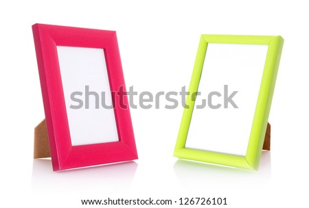 Two blank contemporary desktop picture frame isolated on white