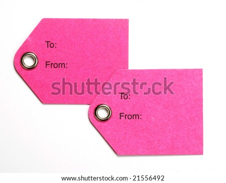 Two blank pink tags isolated on a white background