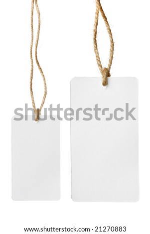 Two blank price tags isolated over white background