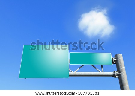 Two blank Road traffic sign with empty copy space (Path in the image) with blue sky and white cloud