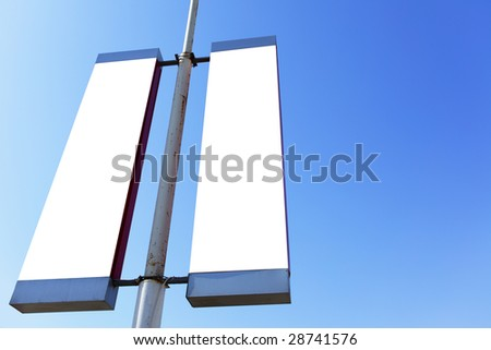 Two blank signs on the post, put your own text or image here