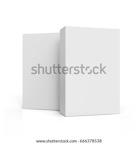 two blank tilt white paper boxes 3d rendering for design use, one right tilt, isolated white background, side view stock photo