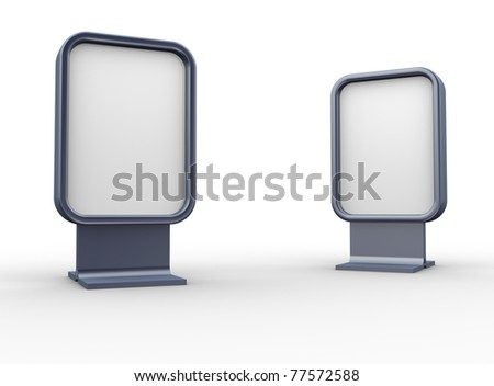 Two blank vertical billboards - This is a 3d render illustration