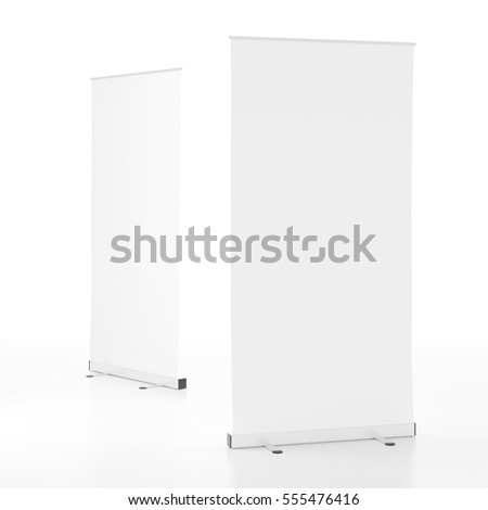Two blank white  roll-up banners stand isolated on white background. Include clipping paths around stand and display banner. 3d render