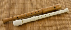 Two block flute, recorders in different colours on a brown table mat