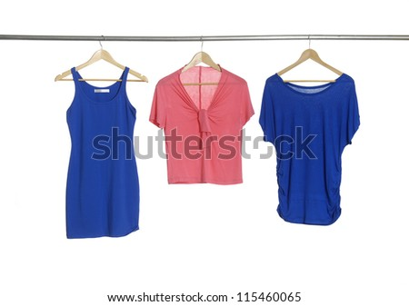 Two blue and red female cloth hangers