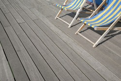 Two Blue and Yellow Deckchairs