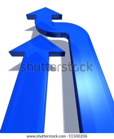 Two blue arrows pointing forward at a white background, one directly and one with a small turn