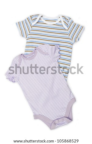 Two blue baby onesie isolated on white background. clothes close up - stock photo