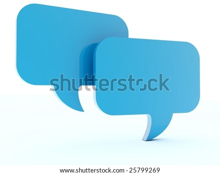 Two blue chat box isolated on white