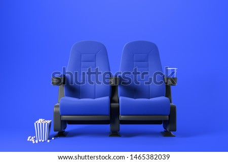 Two blue cinema chairs with fizzy drink and box of popcorn over blue background. Concept of entertainment. 3d rendering