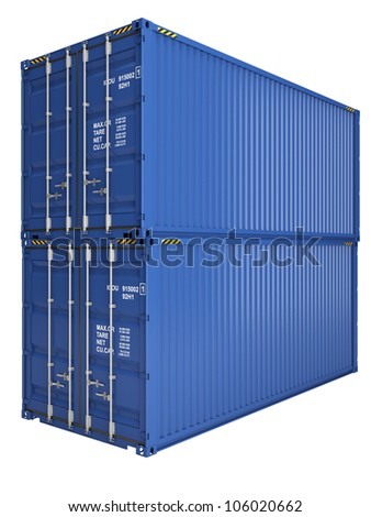 Two blue freight containers isolated on white