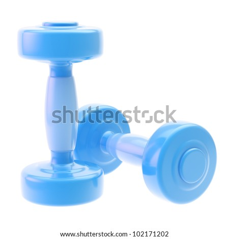Two blue glossy dumbbell isolated on white