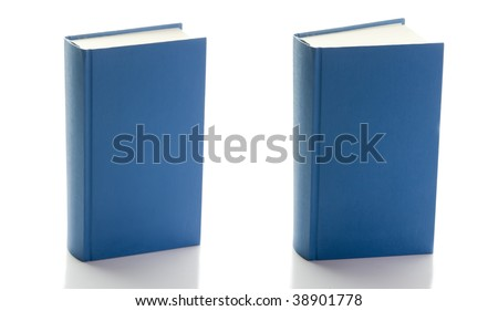 two blue hard-back standing books, one closed second ajar; isolated on white background