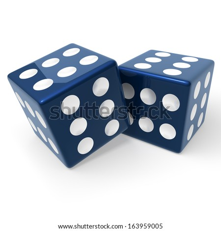 Two, blue loaded dice, every face showing six pips, 3d rendering isolated on white background Stock photo ©
