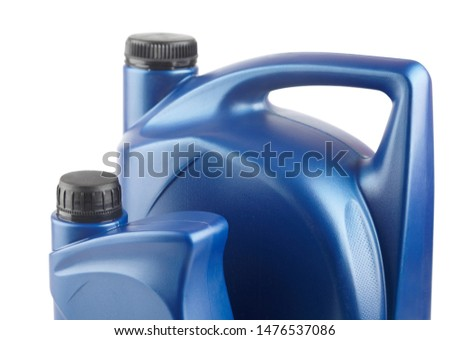 two blue plastic canister for lubricants without label, container for chemicals #1476537086