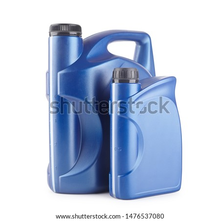 two blue plastic canister for lubricants without label, container for chemicals isolated on white #1476537080