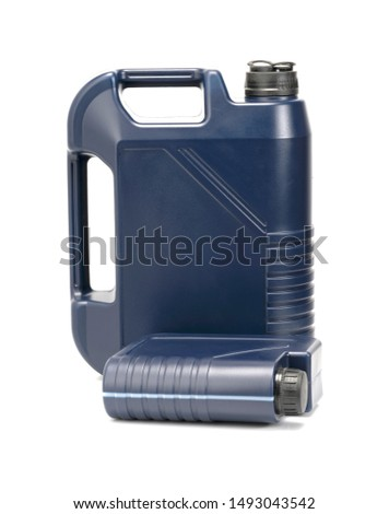 two blue plastic canister for lubricants without label, container for chemicals isolated on white #1493043542