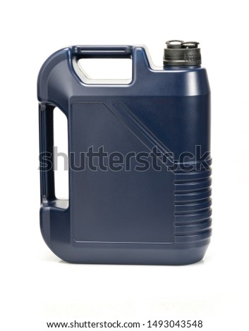 two blue plastic canister for lubricants without label, container for chemicals isolated on white #1493043548