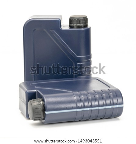 two blue plastic canister for lubricants without label, container for chemicals isolated on white #1493043551