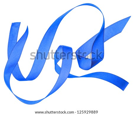 two blue silk ribbon fly bended isolated on white background