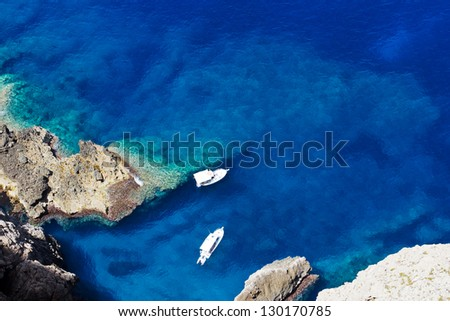 Two boats in a wonderful bay in Mediterranean Sea