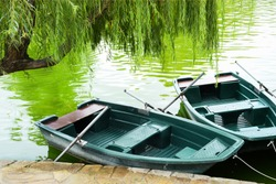 Two boats with oars and parked near the lake in the park with emerald water under the falling branches of a beautiful tree on a summer day.Summer vacation by water transport. Boat parking on the lake