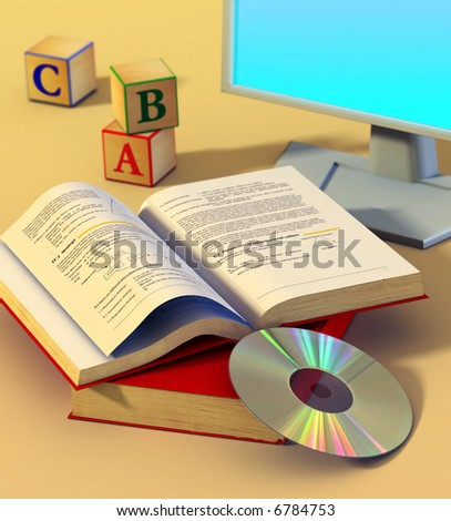 Two books, a cd rom and a monitor. Digital illustration.