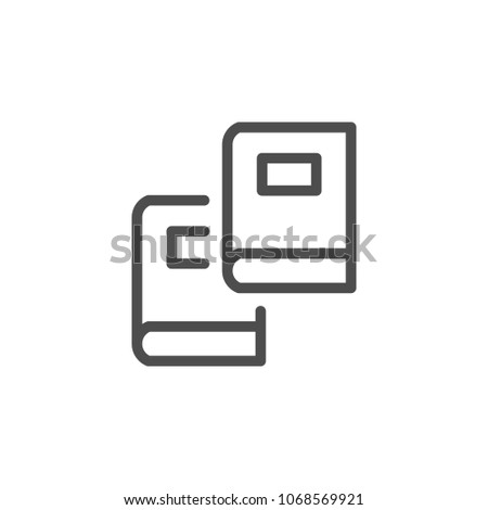 Two books line icon isolated on white