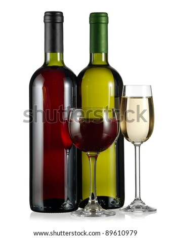 Two bottles and glasses with red and white wine