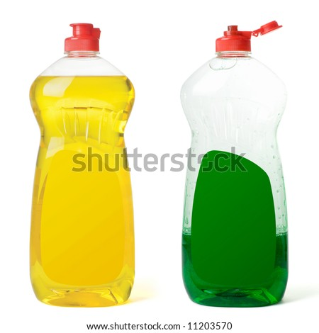 Two bottles dishwashing liquid isolated on a white