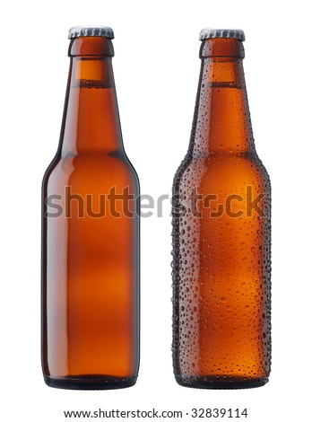 two bottles of beer, with and without water drop