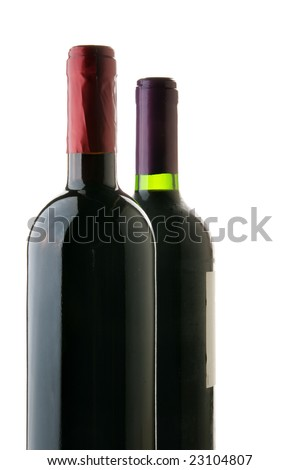 Two bottles of red wine isolated over white background